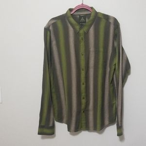 Prana Large Green and Tan Striped Button Up Shirt